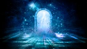 Colorful 3d Rendering Electrifying Artistic Gate That Leads to Another Dimension stock illustration