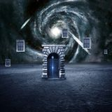 Colorful 3d Rendering Electrifying Gates That Leads to Another Dimension. Through a wormhole royalty free illustration