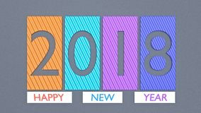 Colorful 2018 3d rendering. Happy new year 2018 greetings 3d rendering Stock Images