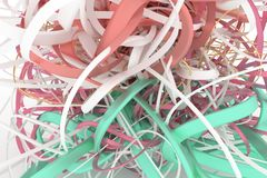Colorful 3D rendering. Illustrations of CGI composition, bunch of messy string, geometric for graphic design or wallpapers. Background abstract, bunch of messy royalty free illustration