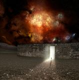 Colorful 3d Rendering Of A Man Walking Throw An Electrifying Gate That Leads to Another Dimension In A Nebula Galaxy Artwork. Colorful Abstract Three 3d vector illustration