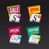 Colorful 3D sales badges concepts Stock Image