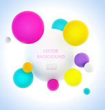 Colorful 3d spheres background. Contemporary hipster vibrant color three-dimentional spheres stock illustration