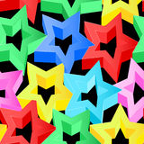 Colorful 3D stars on black seamless pattern.  Royalty Free Stock Photo