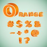 Colorful 3d Symbols with orange pattern. Illustration of Colorful 3d Symbols with orange pattern Stock Photography