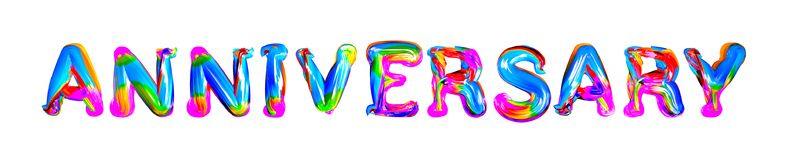 Colorful 3d text anniversary Stock Images