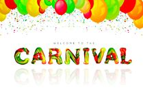 Colorful 3d text carnival. Vector illustration on white background Royalty Free Stock Images