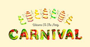 Colorful 3d text carnival. Stock Image