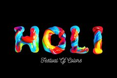 Colorful 3d text holi. Holiday of colors in India Royalty Free Stock Image
