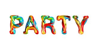 Colorful 3d text party. Stock Images
