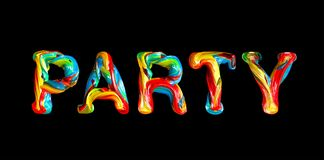 Colorful 3d text party. Stock Photos