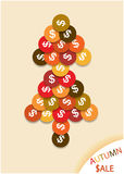 Colorful 3D tree of coins. Background with flat design coins tree Stock Image