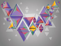 Colorful 3d Triangles. Abstract illustration with multicolor 3d triangles on grey background Royalty Free Stock Photo