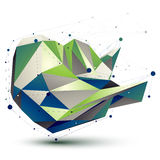 Colorful 3D vector abstract technology illustration. Perspective geometric unusual figure with lines mesh Royalty Free Stock Photography