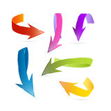 Colorful 3d Vector Arrows. On White Background Vector Illustration