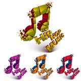 Colorful 3d vector shattered musical notes collection with speck Royalty Free Stock Image