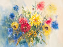 Colorful dahlias watercolor. Yellow and red dahlias with blue flowers bouquet. Watercolor painting, illustration, hand painted Stock Image