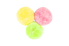 Colorful of daifuku dessert from japanese isolated. On white background stock photography