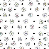 Colorful daisy flower field pattern with black heart. Background Stock Photos