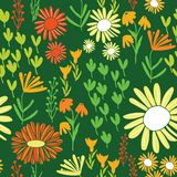 Colorful daisy world garden repeating seamless pattern vector illustration