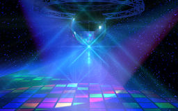 Colorful dance floor with mirror ball Stock Photos