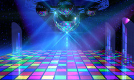 Colorful dance floor with several disco balls vector illustration
