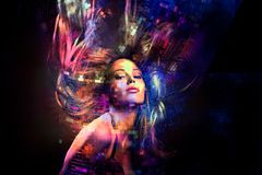 Colorful dance party girl with hair in motion stock photos