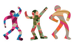 Colorful Dancing figures in human shapes Royalty Free Stock Images