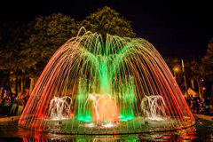 Colorful dancing fountain Stock Photography
