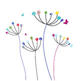 Colorful dandelion flowers and butterflies vector Stock Photo