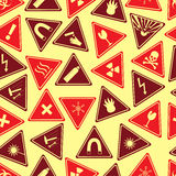 Colorful danger signs types seamless pattern. Eps10 Royalty Free Stock Images