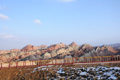 Colorful danxia. Zhang ye, gansu province China danxia landform, peculiar modelling, colour gougeous, majestic, a variety of shapes and Jurassic, snow hit, love stock images