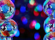 Colorful dark background with mirror disco balls Royalty Free Stock Photos