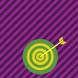 Colorful Dart Board in Circle Concentric Style with Arrow Hitting Center Bulls Eye. Creative Background Idea for. Color Dart Board in Concentric Style with Arrow stock illustration