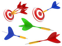 Colorful Darts Hit in Target. Stock Images