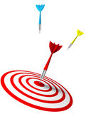 Colorful darts hitting a target vector illustration