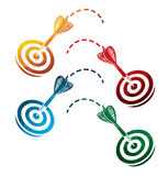Colorful darts icons on white background. isolated target icons. eps8. Royalty Free Stock Photo