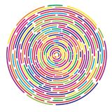 Colorful dashed random concentric circles abstract background. Rainbow colors linear round badge stock illustration