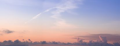 Colorful dawn/dusk sky panorama with clouds . Colorful dawn/dusk sky panorama with clouds background Royalty Free Stock Photography