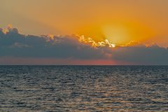 Colorful dawn over the sea, Sunset. Beautiful magic sunset over the sea royalty free stock photography