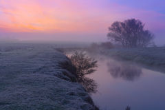 Colorful dawn on the river Stock Photos