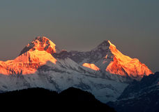 Colorful dawn scene on mount  Nanda devi Royalty Free Stock Photography
