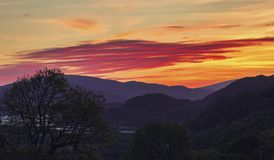Colorful Dawn Sky over Snowdonia Mountains stock photography