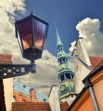Colorful day in medieval district of old Riga Royalty Free Stock Images