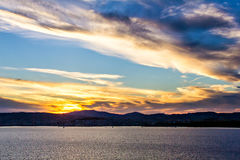 Colorful daybreak at Vigo harbor Royalty Free Stock Image