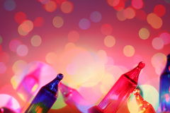 Colorful De focused circles electric light bulbs and lights background Stock Photography