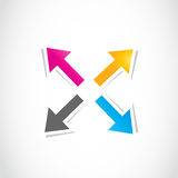 Colorful deciding arrows, way choice. Abstract background Royalty Free Stock Photography