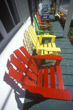 Colorful deck chairs Stock Images