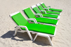 Colorful of Deck Chairs on the Beach in Sunny Day ,Pattaya Stock Photography