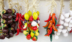 Colorful deco ceramic fruit and vegetables Royalty Free Stock Photo